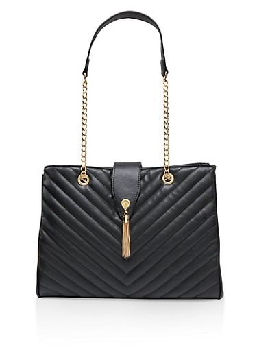 Quilted Chain Strap Shoulder Bag,BLACK,large