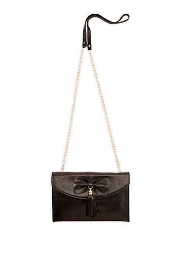 Textured Faux Leather Crossbody Bag,BLACK,large