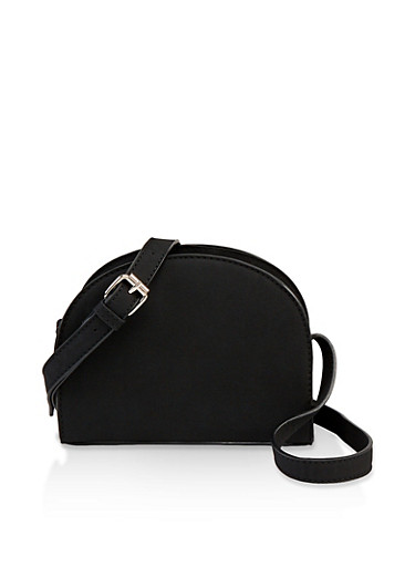 Textured Crossbody Bag,BLACK,large