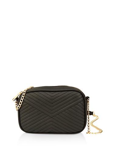 Chevron Stitch Crossbody Bag,BLACK,large