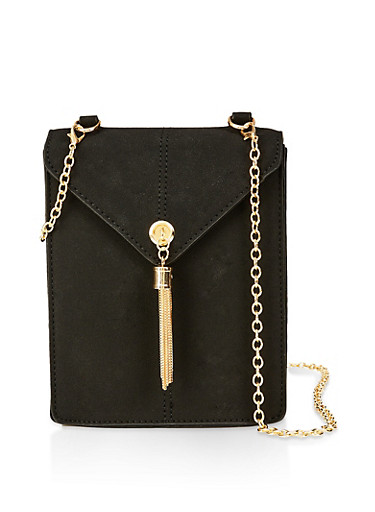 Textured Envelope Crossbody Bag,BLACK,large