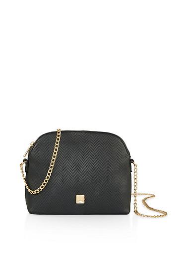 Embossed Chain Strap Crossbody Bag,BLACK,large