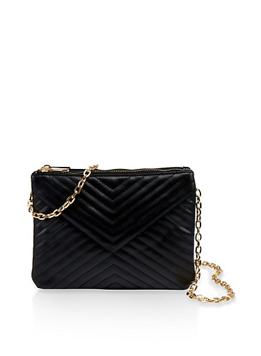 Chevron Stitched Crossbody Bag,BLACK,large