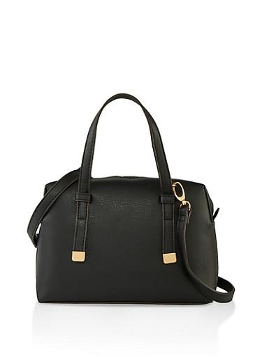 Small Faux Leather Handbag,BLACK,large