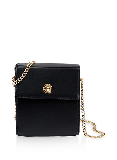 Chain Strap Box Crossbody Bag,BLACK,large