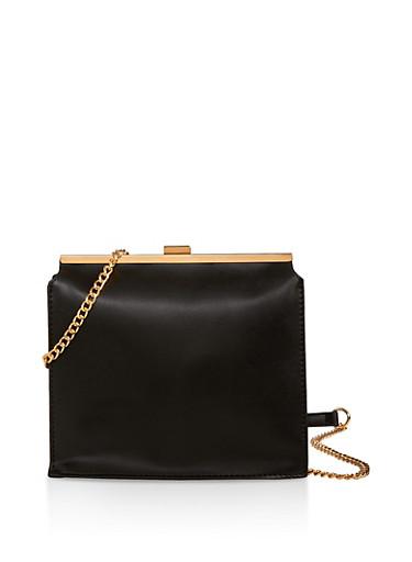 Square Crossbody Bag,BLACK,large