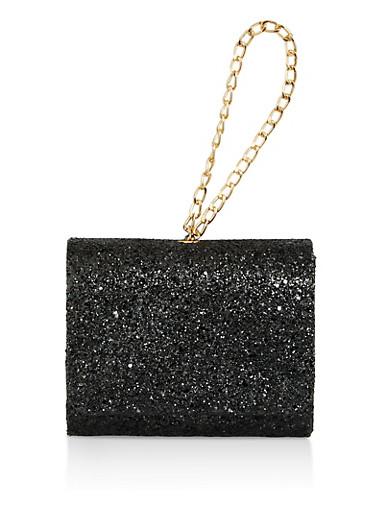 Glitter Chain Wristlet,BLACK,large