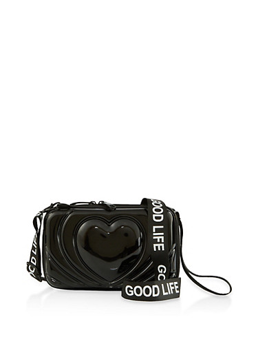 Good Life Graphic Heart Crossbody Bag,BLACK,large