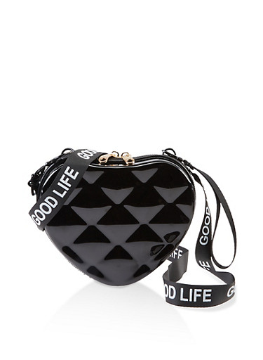 Good Life Heart Crossbody Bag,BLACK,large