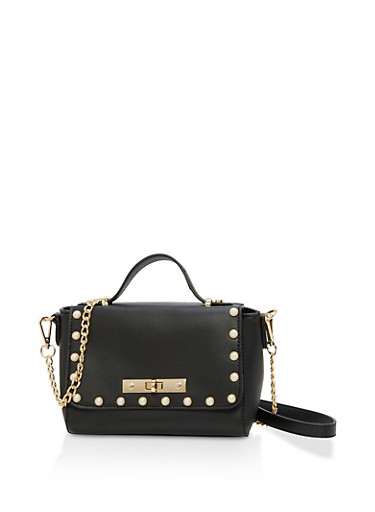 Faux Pearl Studded Crossbody Bag,BLACK,large