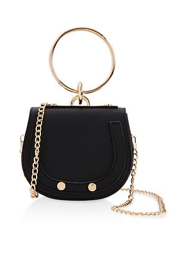 Mini Saddle Crossbody Bag,BLACK,large