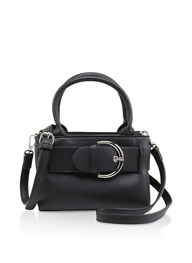 Belted Mini Crossbody Bag,BLACK,large