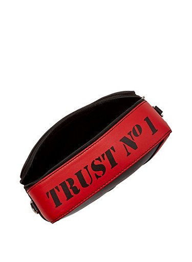 Trust No1 Square Crossbody Bag,RED,large