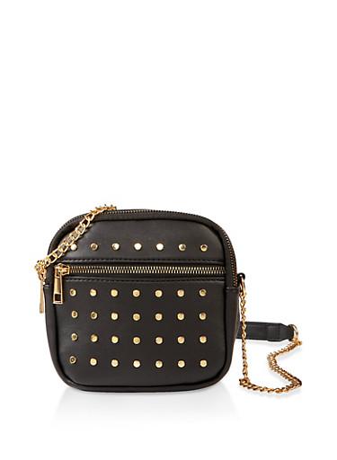 Studded Square Crossbody Bag,BLACK,large