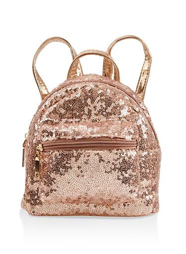 Mini Sequin Backpack,ROSE,large