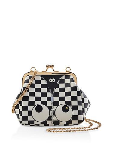 Graphic Checkered Crossbody Bag,BLACK/WHITE,large