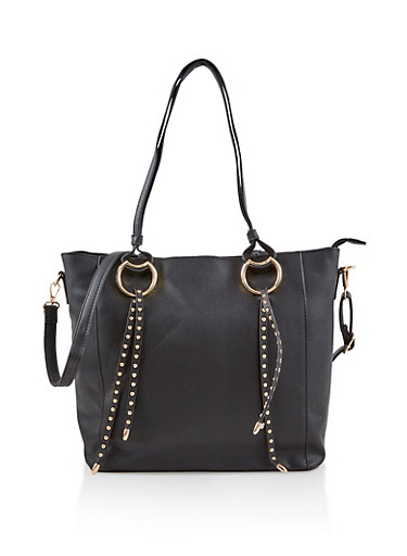 Studded Faux Leather Tote Bag,BLACK,large