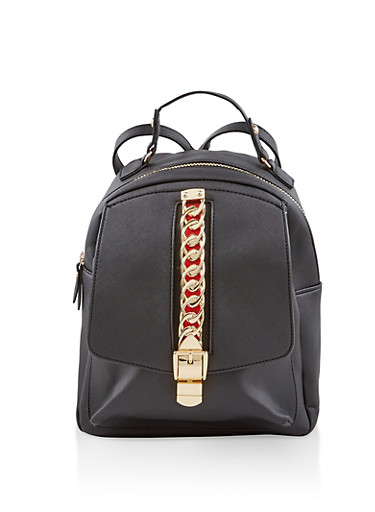 Chain Detail Faux Leather Backpack,BLACK,large
