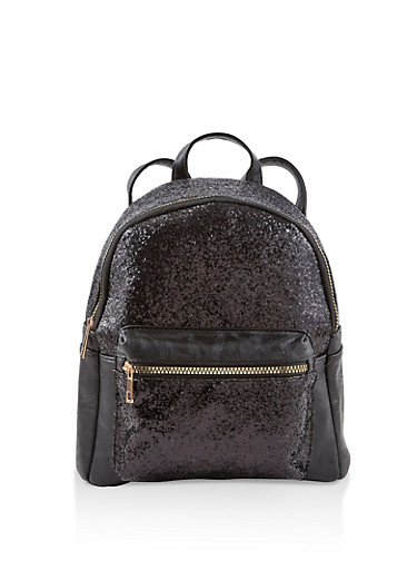 Glitter Faux Leather Backpack,BLACK,large