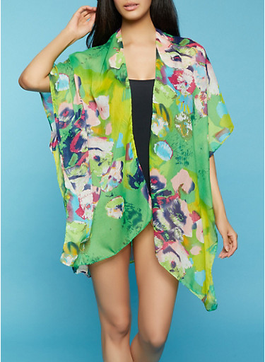 Abstract Floral Print Cover Up,GREEN,large