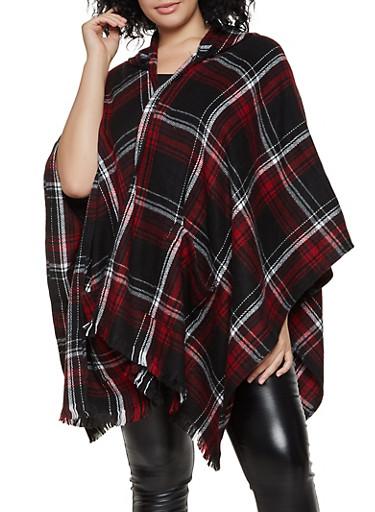 Plaid Hooded Shawl,BLACK,large