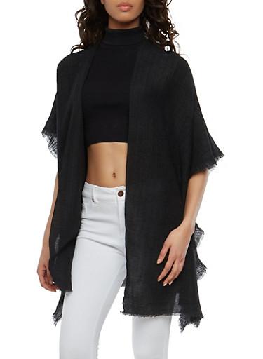Textured Knit Open Front Kimono,BLACK,large