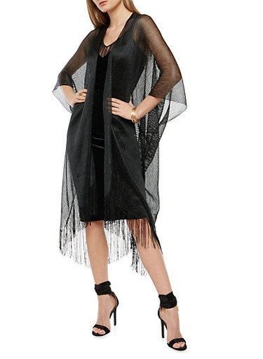 Glitter Knit Fringe Duster,BLACK,large