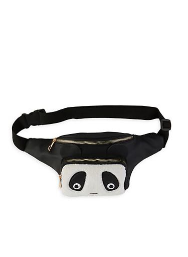 Panda Graphic Double Zip Fanny Pack,BLACK,large