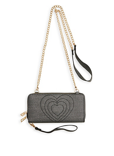Heart Stitched Crossbody Wallet,BLACK,large