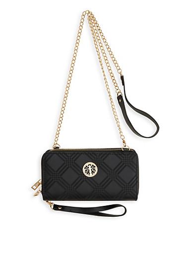 Double Zip Crossbody Wallet,BLACK,large