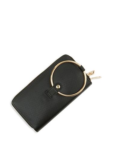 Double Zip Faux Leather Wallet,BLACK,large