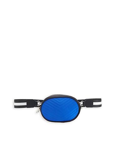 Chevron Stitched Neon Oval Belt Bag,COBALT,large