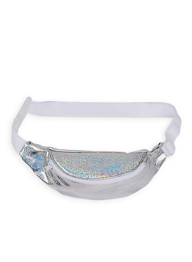 Glitter Holographic Fanny Pack,SILVER,large