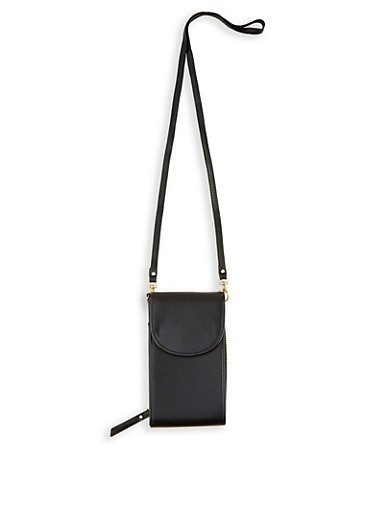 Zip Faux Leather Crossbody Bag,BLACK,large