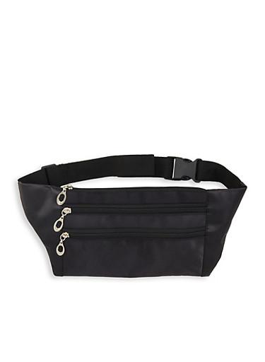 Nylon Zipper Fanny Pack,BLACK,large
