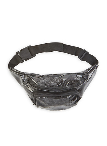 Clear Lace Print Fanny Pack,BLACK,large