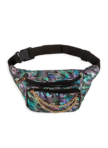 Foil Print Chain Detail Fanny Pack,BLACK,large