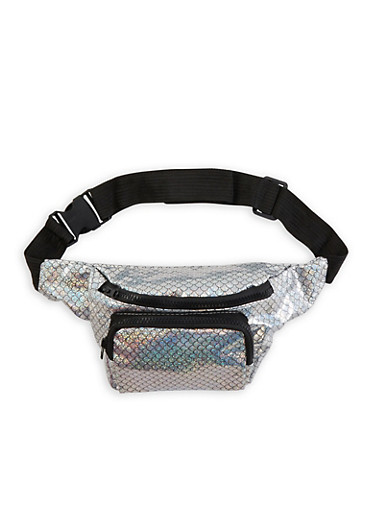 Mermaid Scale Print Fanny Pack,SILVER,large