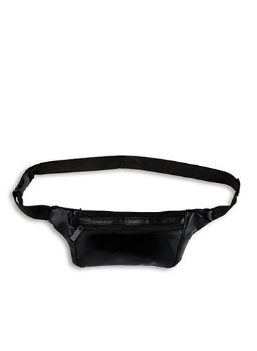 Slim Faux Leather Fanny Pack,BLACK,large