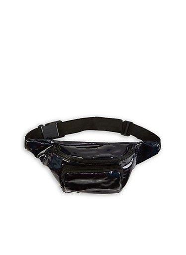 Holographic Fanny Pack,BLACK,large