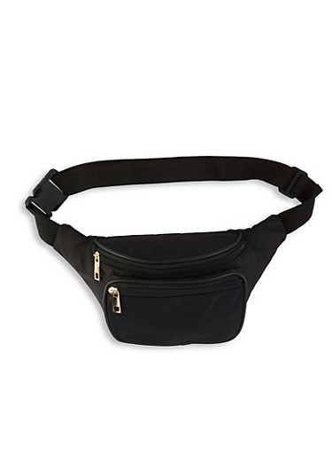 Double Zip Nylon Fanny Pack,BLACK,large