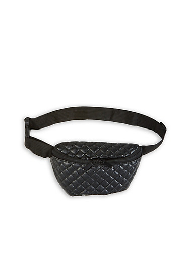 Quilted Faux Leather Fanny Pack,BLACK,large
