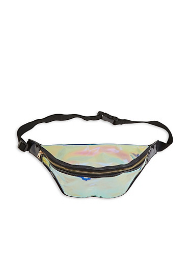 Iridescent Fanny Pack,BLACK,large