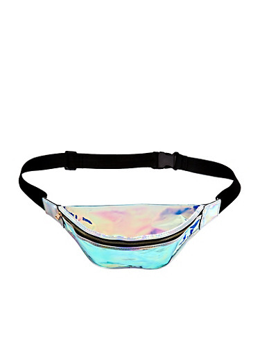 Iridescent Fanny Pack,SILVER,large