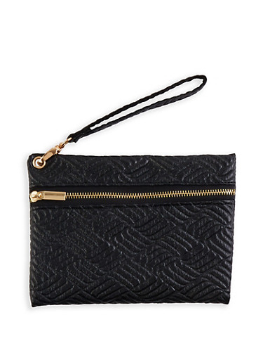Embossed Faux Leather Wristlet,BLACK,large