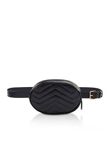Chevron Quilted Faux Leather Belt Bag,BLACK,large