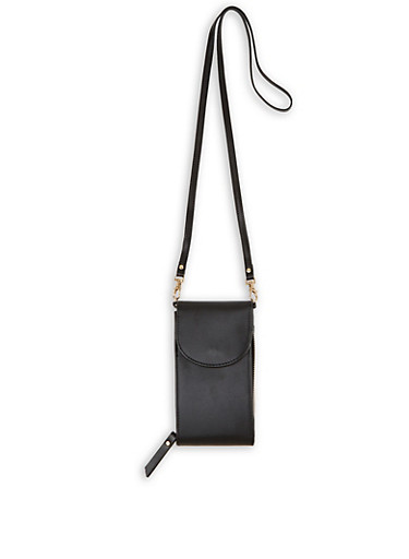 Zip Around Crossbody Bag,BLACK,large