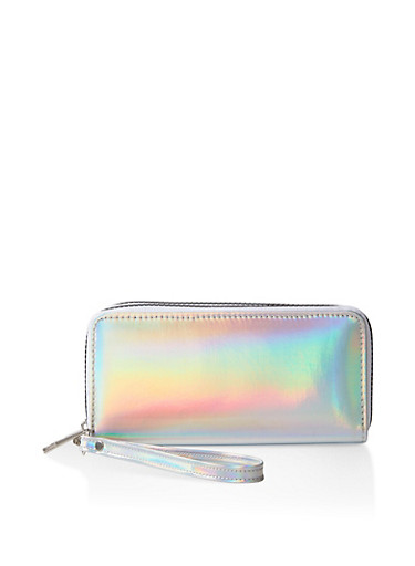 Iridescent Double Zip Wallet,SILVER,large