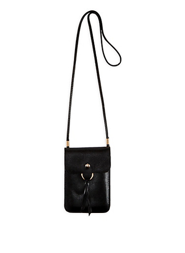 Slim Faux Leather Crossbody Bag,BLACK,large
