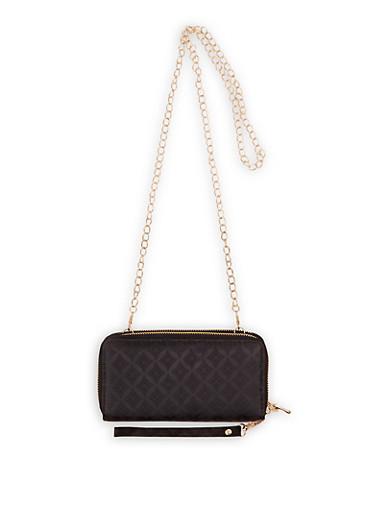 Double Zip Jacquard Crossbody Wallet,BLACK,large